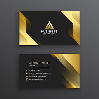 Sjabloon voor abstract zwart en gouden visitekaartjes