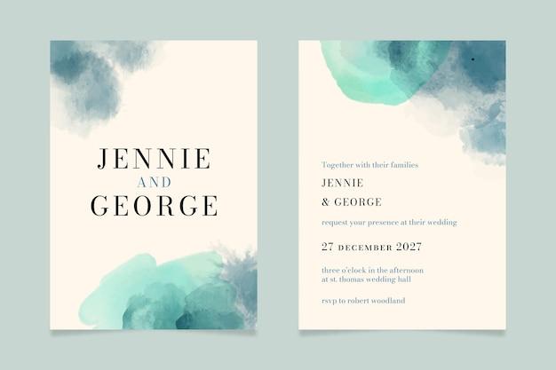 Sjabloon voor abstracte aquarel bruiloft uitnodiging