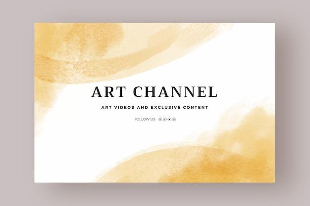 Sjabloon voor abstracte aquarel youtube-kanaalkunst