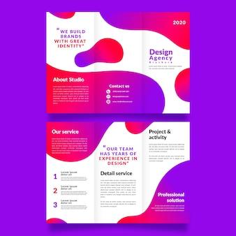 Sjabloon voor abstracte driebladige brochure concept