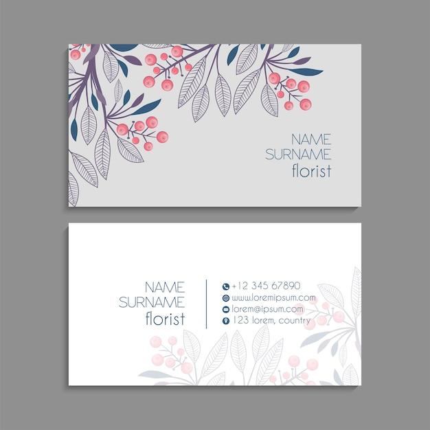 Sjabloon voor abstracte visitekaartjes met blauwe bloemen