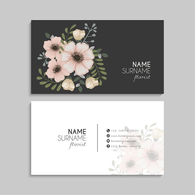 Sjabloon voor abstracte visitekaartjes met bloemen
