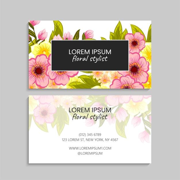 Sjabloon voor abstracte visitekaartjes met roze bloemen