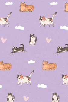 Sjabloon voor achtergrond met patroon voor kattenliefhebber