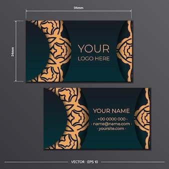 Sjabloon voor afdrukontwerp van visitekaartjes in groene kleur met vintage patronen. visitekaartje voorbereiding met luxe ornamenten.