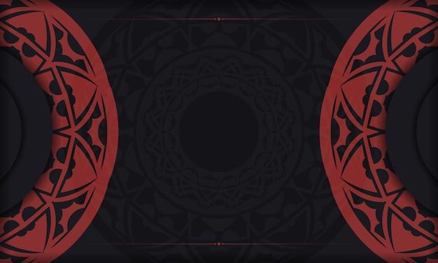 Sjabloon voor ansichtkaart afdrukontwerp met griekse ornamenten. zwart-rode vectorbanner met luxe ornamenten voor uw logo.