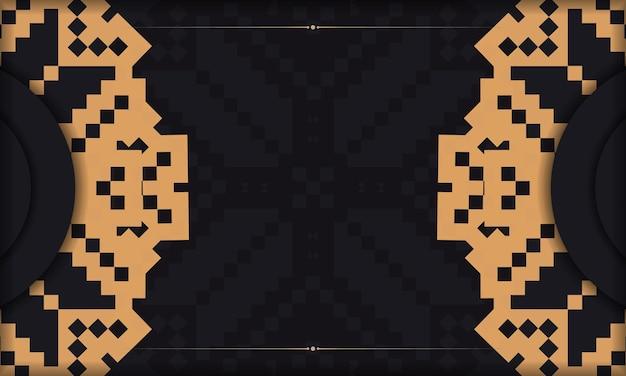Sjabloon voor ansichtkaart print ontwerp met luxe ornament. zwarte achtergrond met slavische vintage ornamenten en plaats voor uw logo.