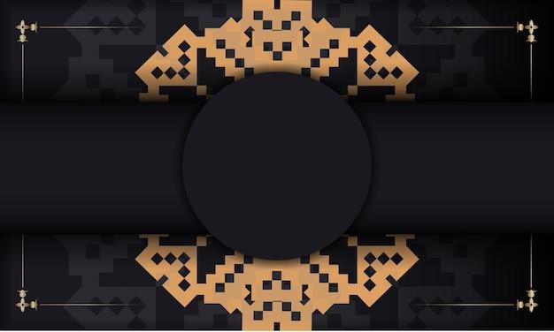 Sjabloon voor ansichtkaart print ontwerp met luxe ornament. zwarte vectorbanner met sloveense ornamenten en plaats voor uw logo en tekst.