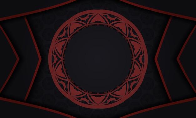 Sjabloon voor ansichtkaart printontwerp met griekse patronen. zwart-rode vectorbanner met luxe ornamenten en plaats voor uw tekst en logo.