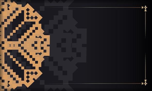 Sjabloon voor ansichtkaart printontwerp met luxe patronen. zwarte vectorbanner met sloveense ornamenten en plaats voor uw tekst en logo.