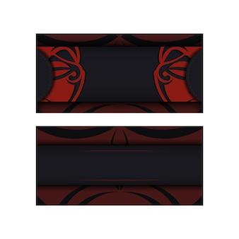 Sjabloon voor ansichtkaarten met printontwerp in zwarte kleur met een masker van de goden. een uitnodiging voorbereiden met een plaats voor uw tekst en een gezicht in patronen in polizeniaanse stijl.