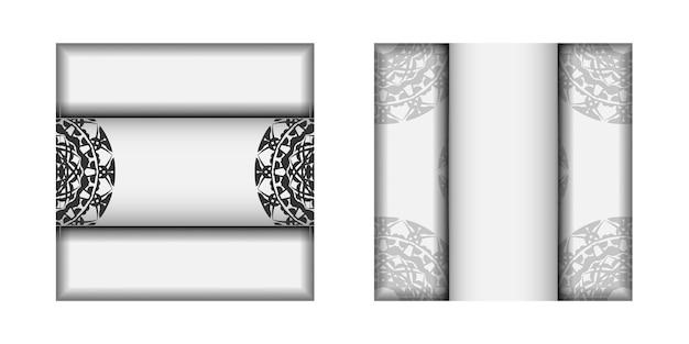 Sjabloon voor ansichtkaarten voor afdrukontwerp witte kleuren met zwart mandala-ornament. een uitnodiging voorbereiden met een plaats voor uw tekst en patronen.