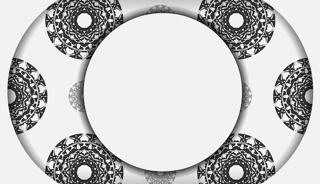 Sjabloon voor ansichtkaarten voor afdrukontwerp witte kleuren met zwart mandala-ornament. vector voorbereiding van uw uitnodiging met plaats voor uw tekst en griekse patronen.