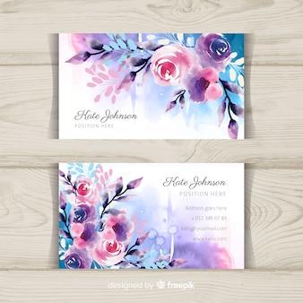 Sjabloon voor aquarel bloemen visitekaartjes