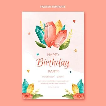 Sjabloon voor aquarel boho verjaardagsaffiche