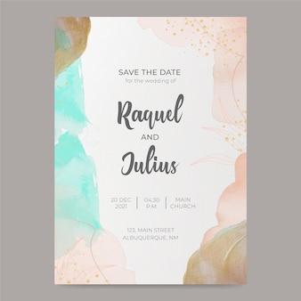 Sjabloon voor aquarel bruiloft uitnodiging