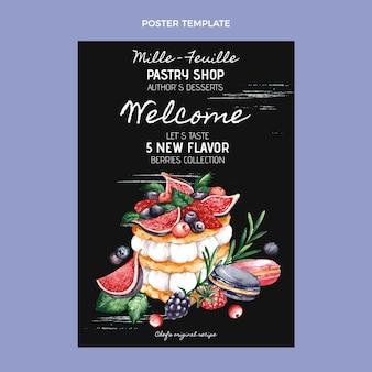 Sjabloon voor aquarel eten poster