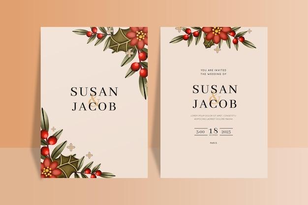 Sjabloon voor aquarel kerst bruiloft uitnodiging
