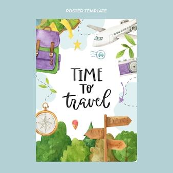 Sjabloon voor aquarel reizen poster