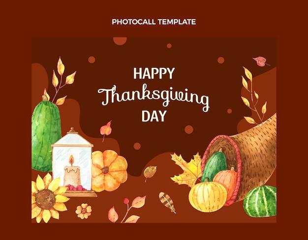 Sjabloon voor aquarel thanksgiving photocall