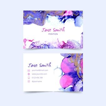Sjabloon voor aquarel verf-ondergedompeld visitekaartjes