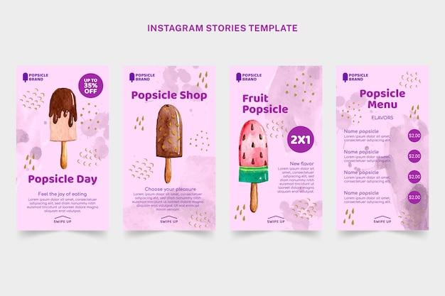 Sjabloon voor aquarel voedsel instagram verhalen
