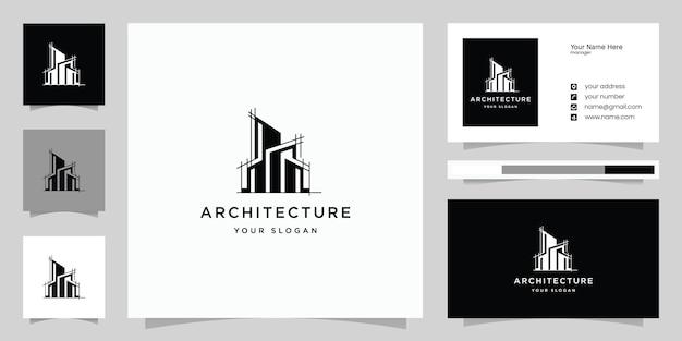 Sjabloon voor architectuurlogo en visitekaartjes. architectuur logo.building logo.real estate