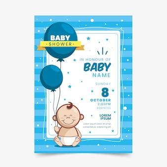 Sjabloon voor baby showeruitnodiging (jongen)