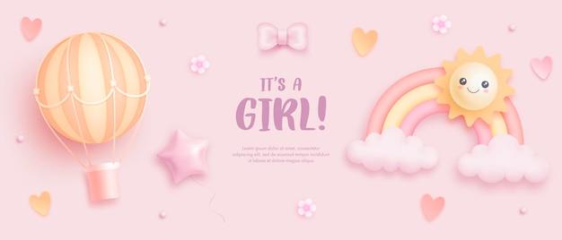 Sjabloon voor babyshower voor meisjes