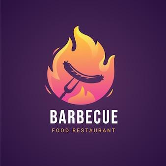 Sjabloon voor barbecue-logo met kleurovergang
