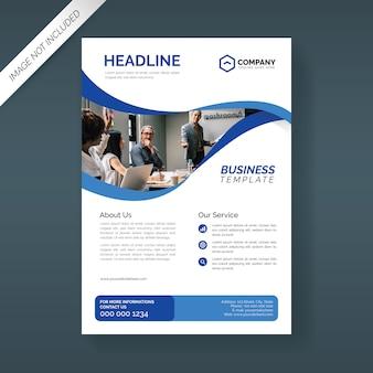 Sjabloon voor bedrijfsbrochure met golvende blauwe vormen