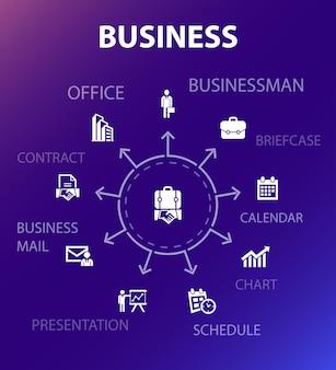 Sjabloon voor bedrijfsconcepten. moderne ontwerpstijl. bevat pictogrammen zoals zakenman, aktetas, kalender, grafiek