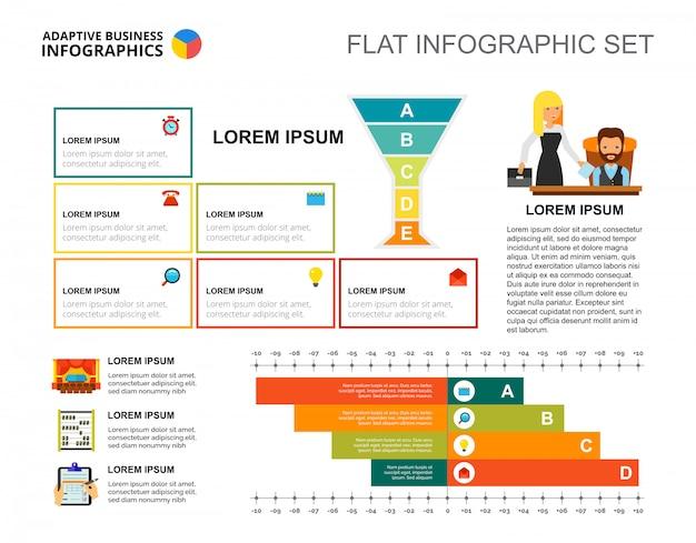 Sjabloon voor bedrijfsstrategie staafdiagrammen voor presentatie