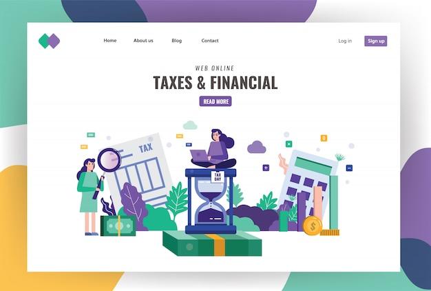 Sjabloon voor belasting en financiële bestemmingspagina.