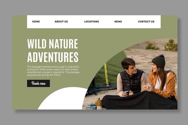 Sjabloon voor bestemmingspagina's in de wilde natuur