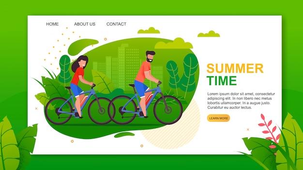 Sjabloon voor bestemmingspagina's met beletteringen van zomertijd en fietsers