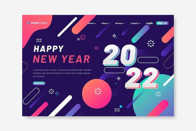 Sjabloon voor bestemmingspagina's met verloop voor het nieuwe jaar