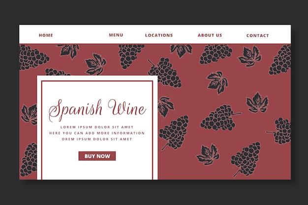 Sjabloon voor bestemmingspagina's met wijnpatroon
