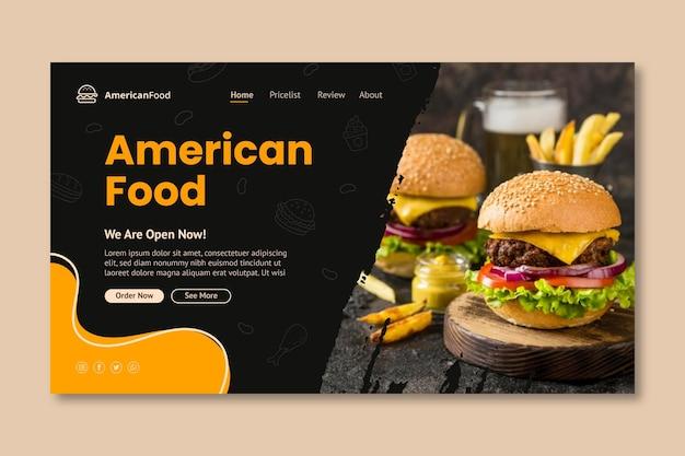 Sjabloon voor bestemmingspagina's voor amerikaans eten