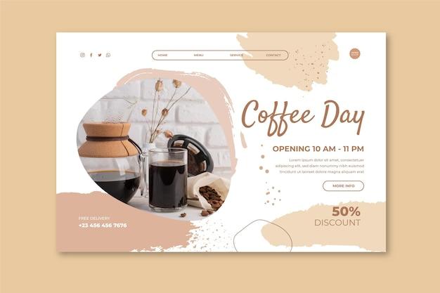 Sjabloon voor bestemmingspagina's voor coffeeshops Gratis Vector