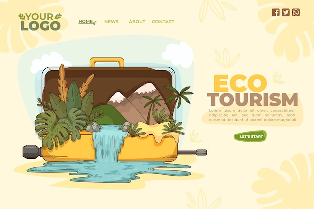 Sjabloon voor bestemmingspagina's voor ecotoerisme