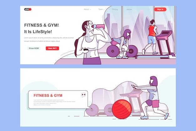Sjabloon voor bestemmingspagina's voor fitnessruimtes als koptekst
