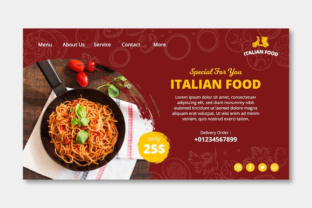 Sjabloon voor bestemmingspagina's voor italiaans eten