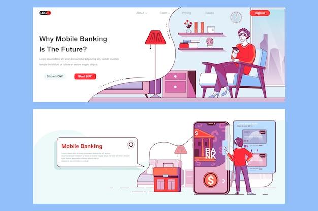 Sjabloon voor bestemmingspagina's voor mobiel bankieren als koptekst