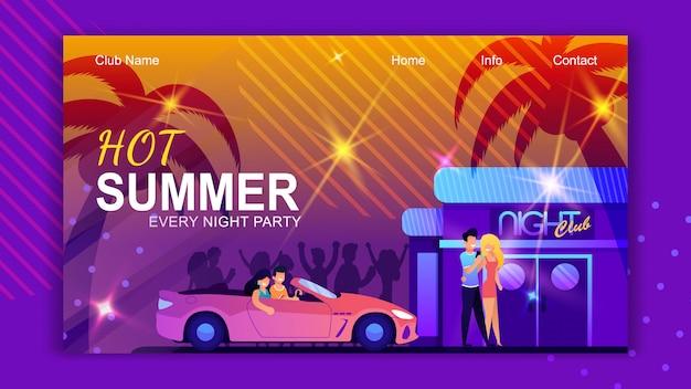 Sjabloon voor bestemmingspagina's voor nachtclub. hete zomer in tropical island advertentie.