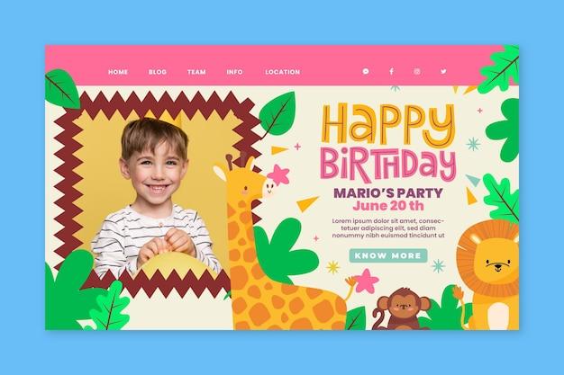 Sjabloon voor bestemmingspagina's voor verjaardag van kinderen