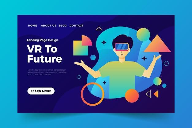 Sjabloon voor bestemmingspagina's voor virtuele realiteit Gratis Vector