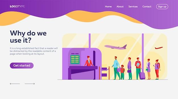 Sjabloon voor bestemmingspagina's voor wachtrijen op luchthavens