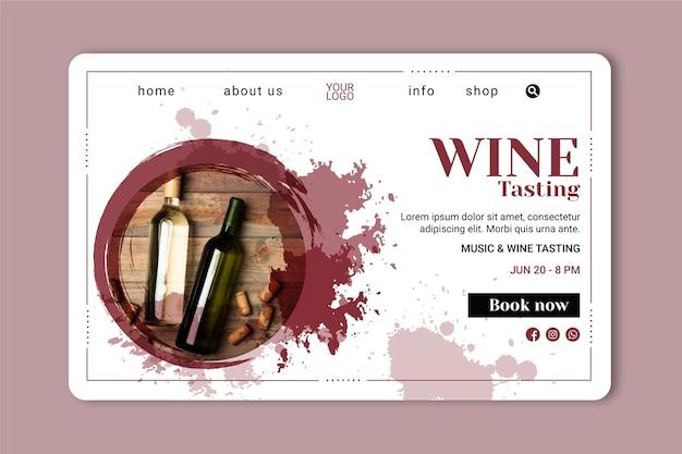 Sjabloon voor bestemmingspagina's voor wijn