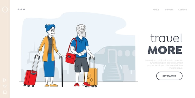 Sjabloon voor bestemmingspagina van de reis van het oude paar. senior toeristische personages met bagage instappen op vliegtuig voor reis, ouderen reizende mensen gaan naar het buitenland. lineaire mensen